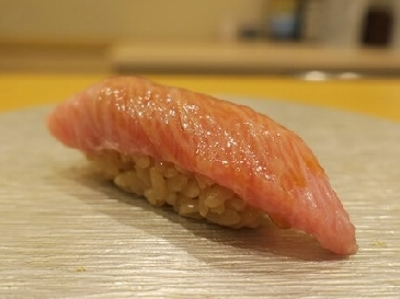 A photo of otoro sushi