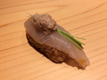 A photo of kawahagi sushi