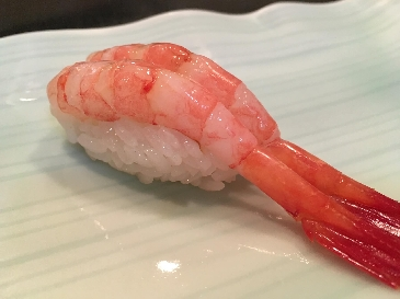 A photo of ama ebi sushi